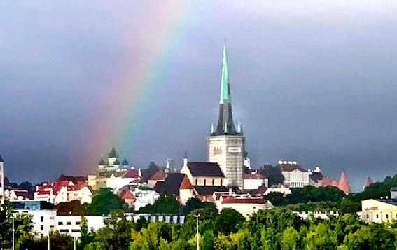 Rainbow over old town Tallinn